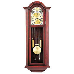 Bulova Clocks Tatianna Wooden Mahogany 3 Tune Musical Chiming Clock (Open Box)