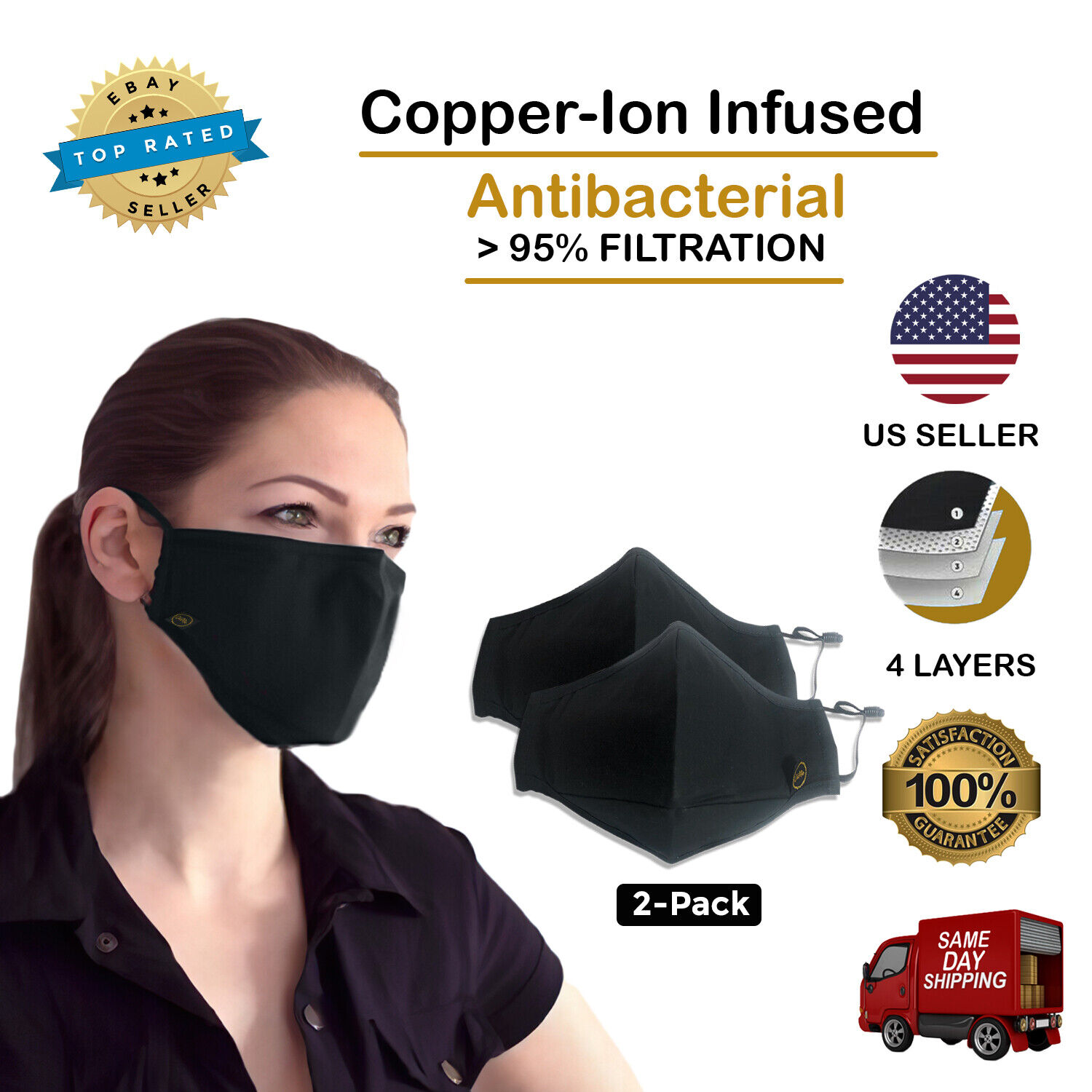 Cloth Face Mask – Washable – Copper Ion Infused – 4 Layers of Filtration 2-PACK