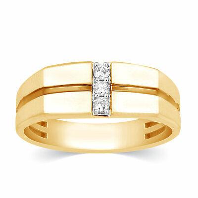 Mens Diamond 0.13 Carats 3 Stone 10k Yellow Gold Ring Wedding Band Anniversary