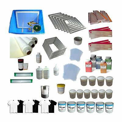6 Color Full Supply Kit Silk Screen Printing Washout Tank Squeegee Colorful Ink