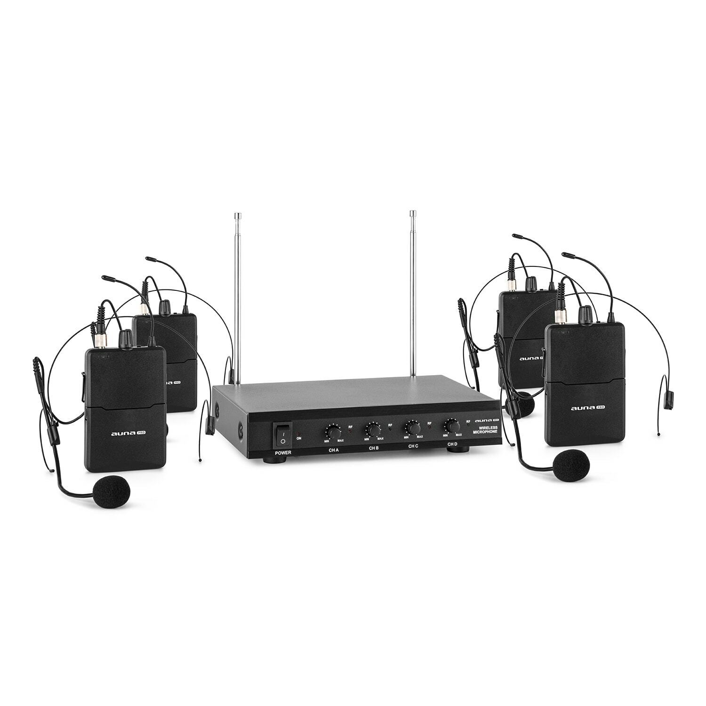 VHF Mikrofon Set Funkmikrofon Wireless Headset Empfänger Taschensender 4 Kanal