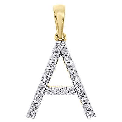 10K Yellow Gold Diamond Initial A Block Letter Pendant 1