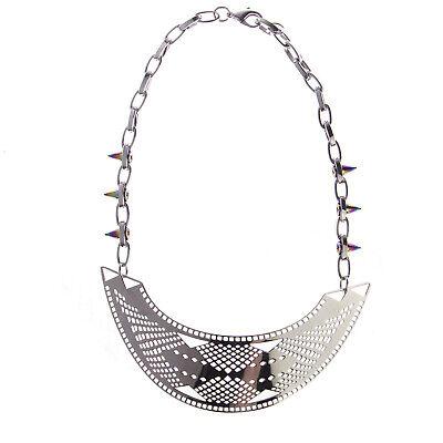 JOOMI LIM Modern Tribe Silver Bib Necklace - Rainbow Spikes on Chain NEW