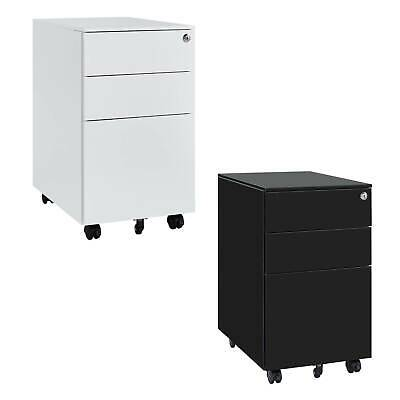 Mobile Steel A4 File Cabinet With Lock Smooth Gliding 3 Drawers Wheels Office