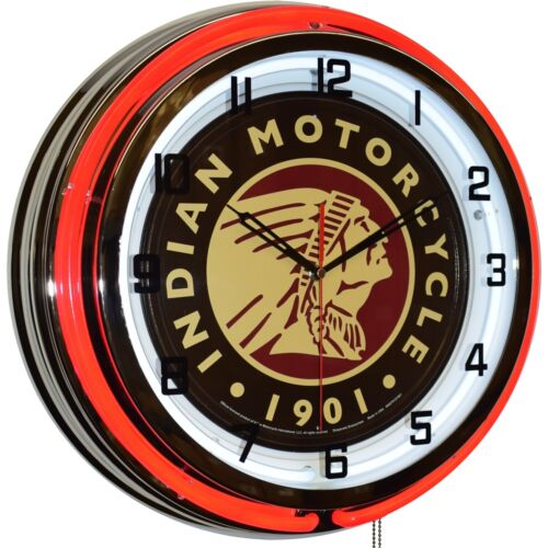 """19"""" Indian Motorcycle Since 1901 Sign Red Double Neon Clock Man Cave Decor"""