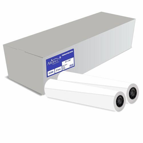 Alliance CAD Paper Rolls 24x300, 92 Bright, 20lb. 2 Rls/Ctn - Ink Jet Bond Rolls