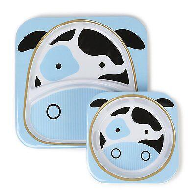 Skip Hop Zoo Melamine Plate and Bowl Set COW Feeding Set Dishwasher Safe NEW - Melamine Feeding Set