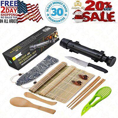 Sushi Making Kit-All In One Sushi Bazooka Maker Bamboo Mats,Bamboo Chopsticks