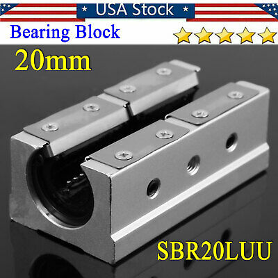1pc Sbr20luu Linear Ball Bearing Motion Block Slide Guide Shaft Cnc Router Parts