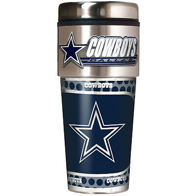Dallas Cowboys NFL Stainless Steel 16oz Travel Tumbler Mug with Emblem
