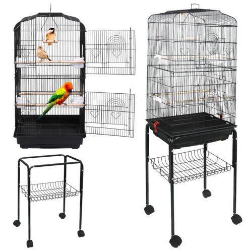 "Movable 59"" Rolling Standing Medium Bird Cage for Cockatiel Sun Conure Pet Bird Supplies"