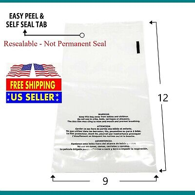 100 500 1000 9x12 Suffocation Warning Clear Plastic Self Seal Poly Bags 1.5 Mil