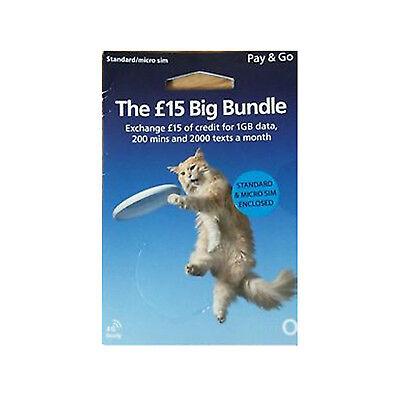 O2 Pay You As Go (PAYG) £ 15 Big Bundle Sim Pack Trio