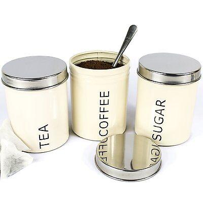 Set Of 3 Cream Tea Coffee Sugar Kitchen Storage Canisters Round Jars Accessories