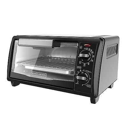 Label NEW BLACK+DECKER TO1342B 4-Slice Toaster Oven, Black