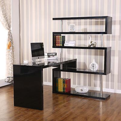 Hollow Core Hobby Corner Desk Computer Table Rotating 4 Tier Shelf Combo Black