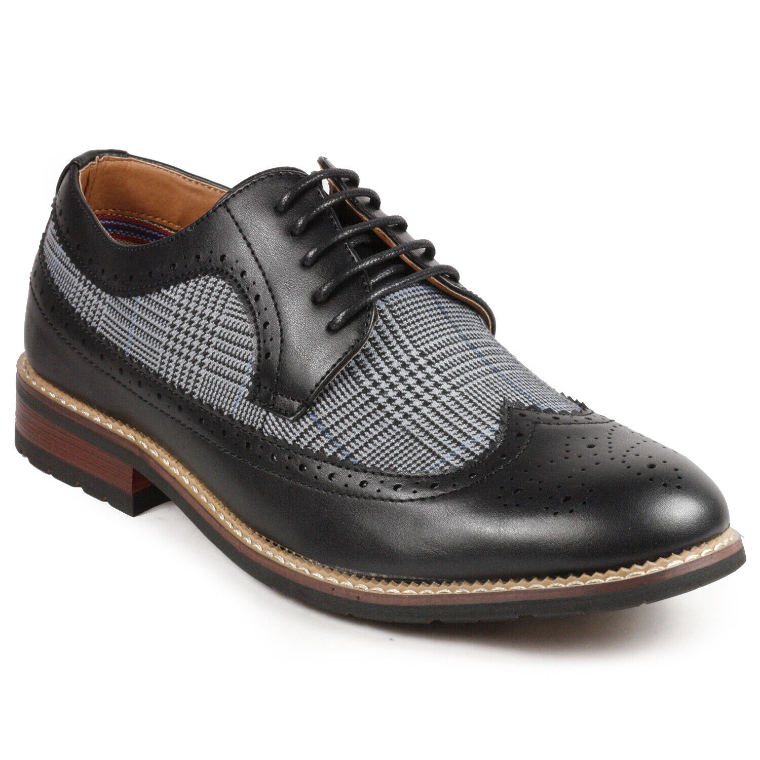 Black Tweed Men's Wing Tip Lace Up Oxford Dress Shoes 1