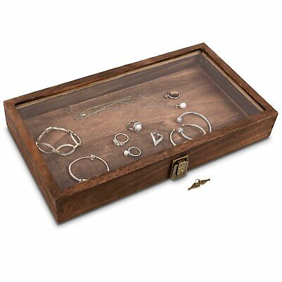 Wooden Jewelry Display Case With Glass Top Lid With Key Lock Brown