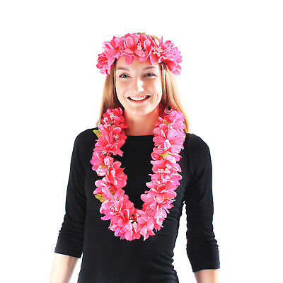 Hawaii Luau Party Artificial Fabric Hawaiian Plumeria Lei and Head Band Haku Set - Artificial Hawaiian Leis