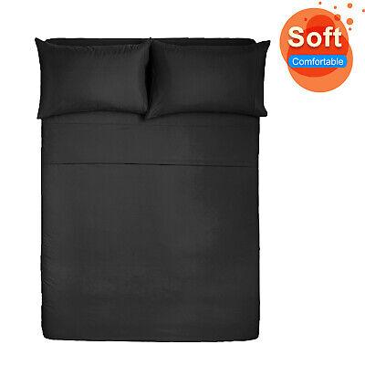 King Size Bed Sheet Set Brushed Microfiber Sheets Bedding 4 Pcs Bed Linens -