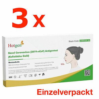3 x Corona Schnelltest Laien Test Covid19 Antigen Sars Antikörper HOTGEN®