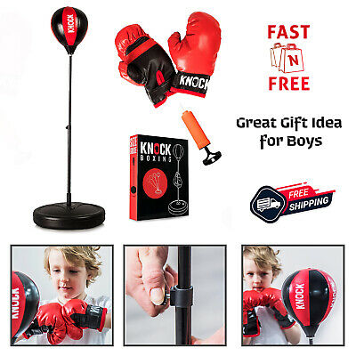 Kids Punching Bag Boxing Stand Set Child Adjustable MMA Training Gloves Pump Kit