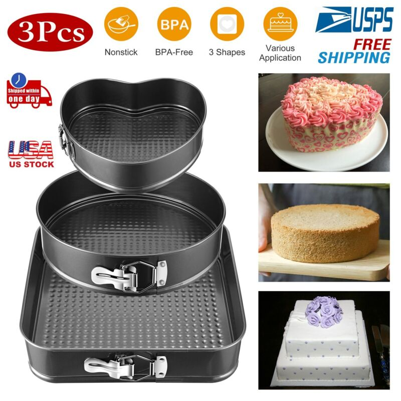 3pcs Round Spring Form Cake Non-Stick Coating Pan Tool 9/10/11 inch for Baking