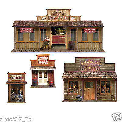 4 COWBOY Western Party Wall Decoration WILD WEST TOWN Buildings Add On Props