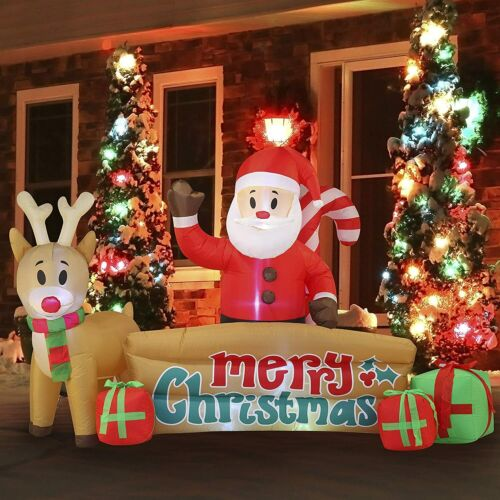 10 FT Long Xmas Sante Merry Christmas Sign Inflatable with Build in LEDs Blow Up