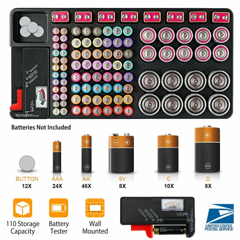 110Pcs Battery Storage Organizer Case With Tester For AAA AA 9V C D Button Cell