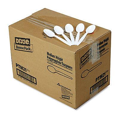 Dixie Plastic Cutlery Mediumweight Teaspoons White 1000/Carton PTM21