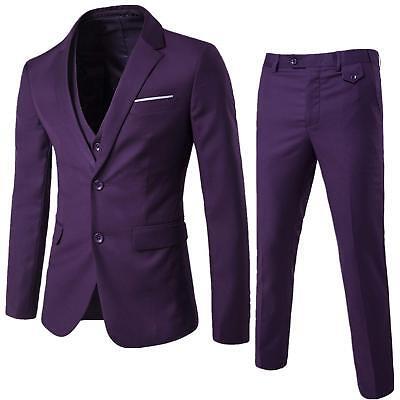 NEW WEEN CHARM Men's Suit 2 Button Slim Fit 3 Pieces Sz Small Purple