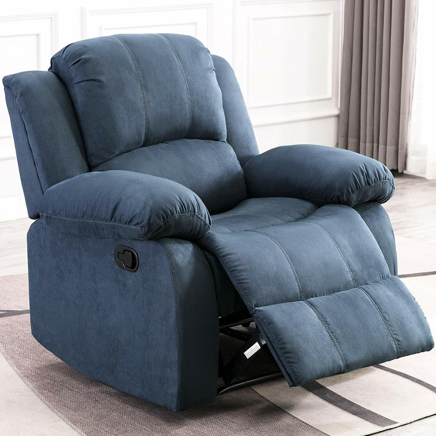 Details about Manual Recliner Chair Overstuffed Heavy Duty Recliner Home Theater Seating Blue