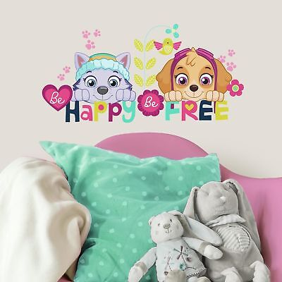 Paw Patrol Skye and Everest Wall Decals Be Happy Be Free Stickers Kids - Paw Patrol Wall Decals