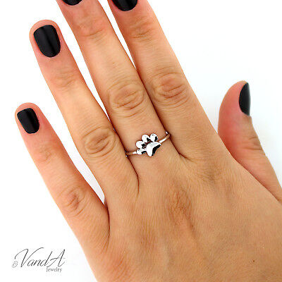 Sterling Silver 925 Dog Paw Print Ring Animal Lover Ring Puppy Pet Paw Ring R72