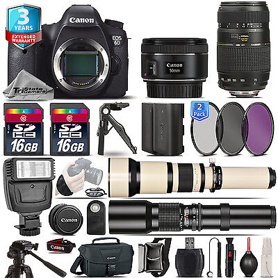 Canon EOS 6D DSLR Camera + 50mm 1.8 STM + 70-300mm + EXT BATT + 3yr Warranty