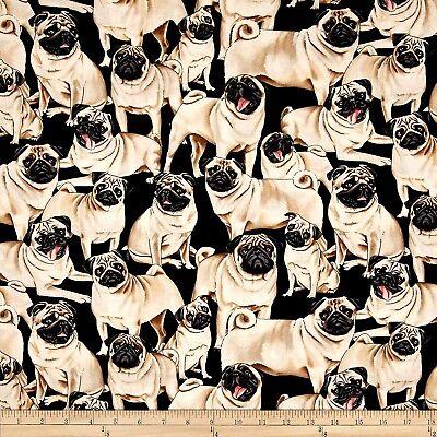 Animal Fabric - Pet Dog Pugs on Black - Timeless Treasures Last 23