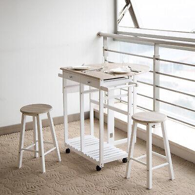 Folding Pub Tables - 3PCS Wood Kitchen Dining Table Set with 2 Stools Folding Trolley Wheel Pub Cart