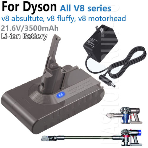 For Dyson V8 Fluffy Battery & Charger Adpater 21.6V 3.5Ah V8
