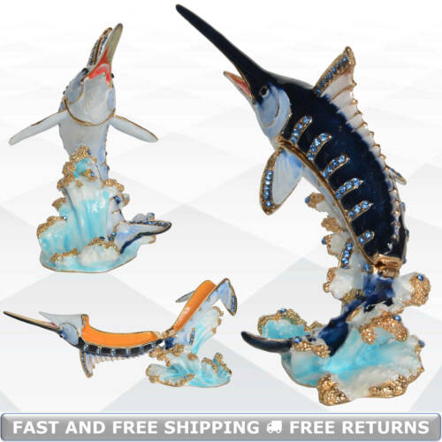 Marlin Fish Pewter Jewelry Trinket Box With Hinged Lid Enamel Bejeweled Crystals