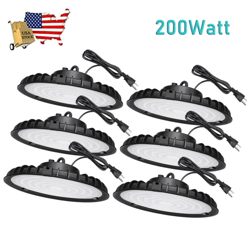6 Pack 200W UFO Led High Bay Light 200 Watts Commercial Warehouse Factory Lights