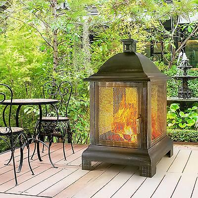 Feuerstelle Gartenkamin Feuerkorb Laterne Brüniert Terrasse Kamin Ofen 35x40Cm