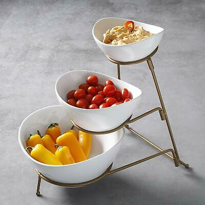 Porcelain 3 Tier Serving Bowls - Oval Serving Bowl With Gold Rack