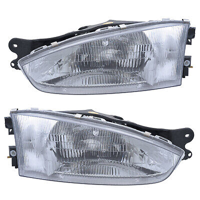 97-02 Mitsubishi Mirage Coupe Driver & Passenger Side Headlights Lamps Pair -