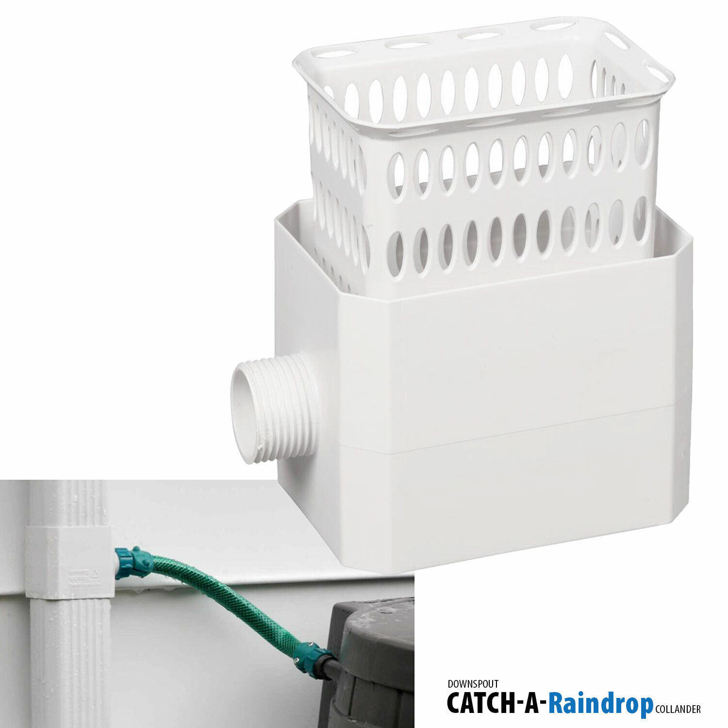 Downspout Rain Water Collection Diverter Connector System Colander 2×3 in White Building & Hardware