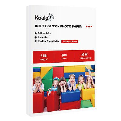 "Koala 100 Sheets 4x6"" Premium Glossy 61lb Inkjet Printer Photo Paper Canon Epson"
