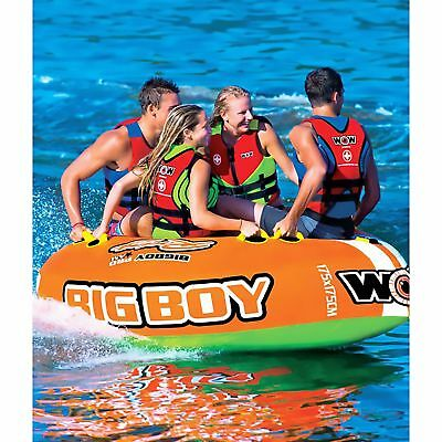 NEW WOW 4 PERSON BIG BOY PRO AM INFLATABLE TOW LAKE BOAT TUBE TOWABLE WATER RAFT