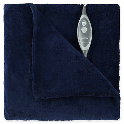 Sunbeam Slumber Rest Electric Heated MicroPlush Warming Throw Blanket Royal Blue