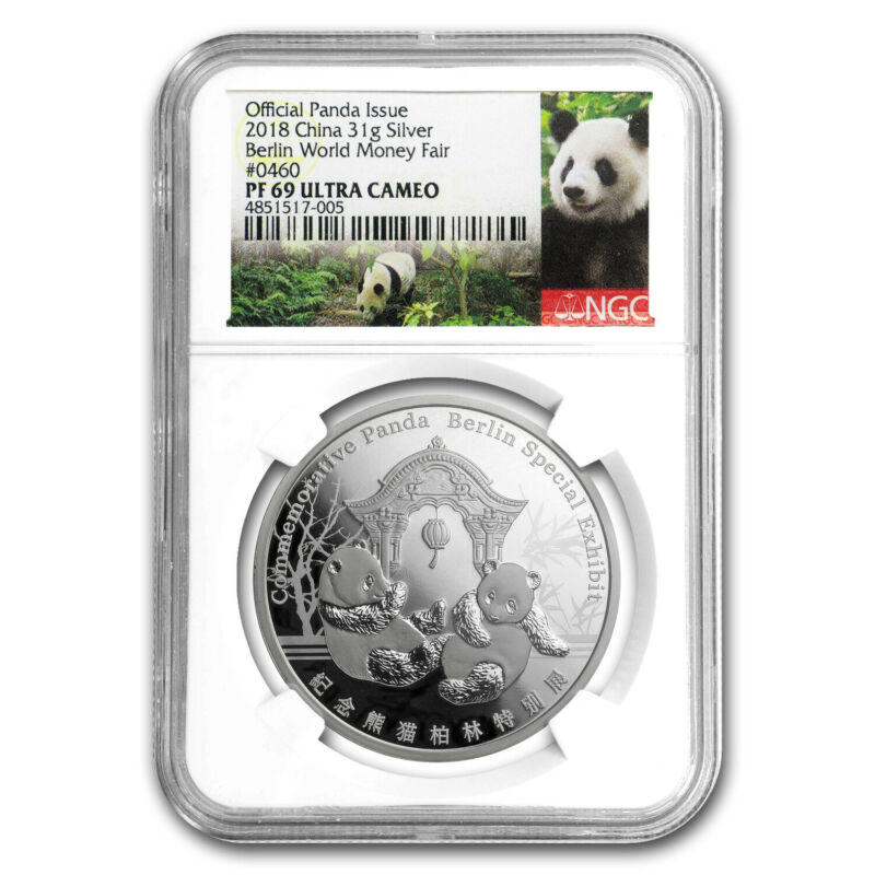 2018 China 1 oz Silver Panda Berlin Money Fair PF-69 NGC - SKU#171157