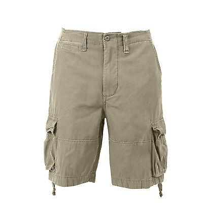 Vintage Khaki Infantry Utility Shorts - Mens Cargo Shorts Khaki Tan Vintage Style Military Infantry Utility Rothco 2547